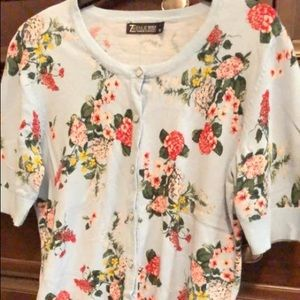 New York & Company Half Sleeve Floral Sweater